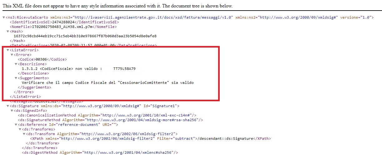 SystemCloud messaggio di scarto SDI